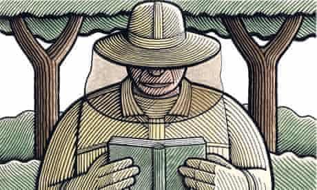 Illustration of beekeeper reading poetry
