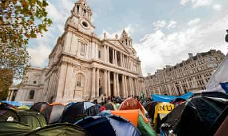 Occupy protesters outside St Paul's Cathedral in London