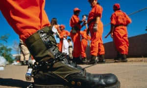 Female Showing Chained Boot in Chain Gang