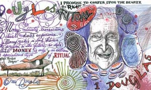detail of alternative banknote by cartoonist Martin Rowson