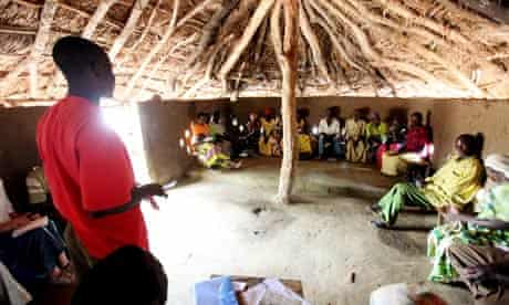A meeting of the village saving and loan association in Katine, north-east Uganda