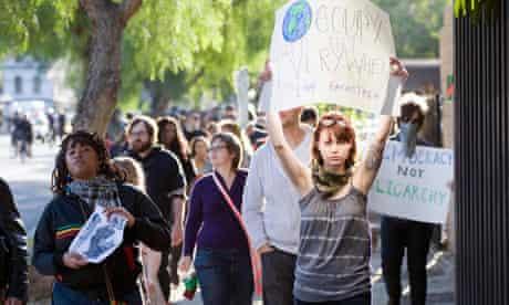 Occupy LA protesters march in Los Angele