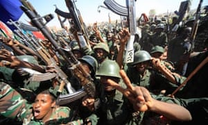 Members of Sudan's military celebrate after a march in Khartoum