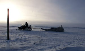 Trekking across snow