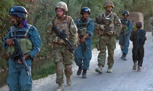 British and Afghan forces on patrol in Afghanistan's Helmand province