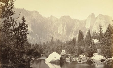 A sepia photograph of the Merced river, by Carleton Watkins