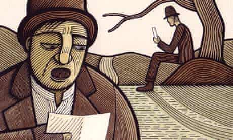Illustration by Clifford Harper showing two men reading letters