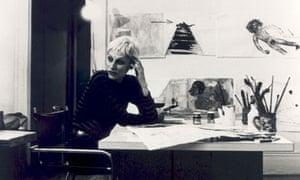 Nancy Spero in her New York studio in 1973.