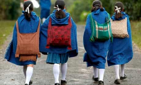 Khasi girls on their way to school india