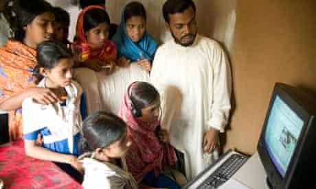 Students at a Community Information Centre Bangladesh.