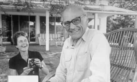 Playwright Arthur Miller with his wife, the photographer Inge Morath