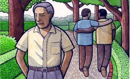 Illustration by Clifford Harper showing man displaying lack of empathy