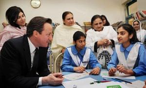David Cameron in Pakistan school