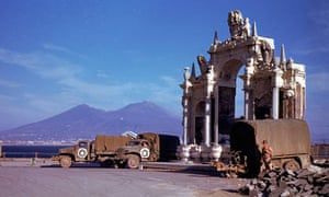 American army trucks parked next to the St Lucia fountain, with Vesuvius in the background
