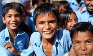 smiling Indian school children