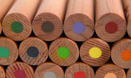 A stack of wooden coloured pencils