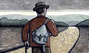 Illustration of man walking along road with knapsack