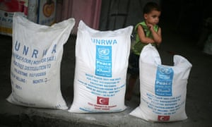 A Palestinians boy stands beside bags of food aid at a UN distribution centre in the Gaza Strip