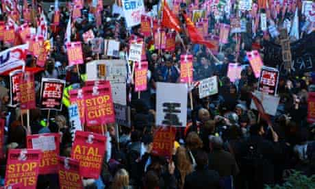 Students protest in central London against an increase in university tuition fees