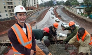 Kenyan workers building part of the Thika road