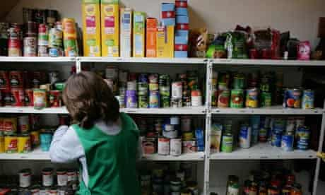 Stocked shelves of a food bank