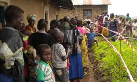 People queue outside a health centre in the Democratic Republic of the Congo
