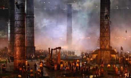 Factory chimneys in the Olympics opening ceremony