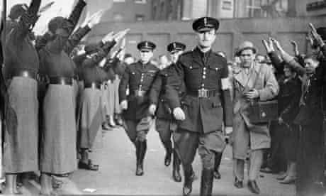 Oswald Mosley at a fascist rally in East London