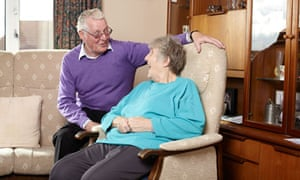 Jean Saunders with volunteer Brian in her home in Swillington, West Yorkshire