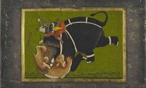 Painting of elephant trampling a tiger