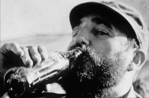 Fidel Castro drinking Coca-Cola