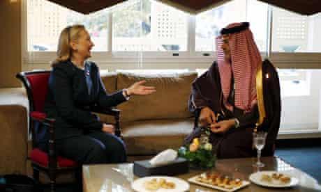 Hillary Clinton, meets with Saudi Arabia's foreign minister, Prince Saud al-Faisal