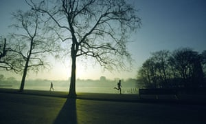 Runners train in the early morning