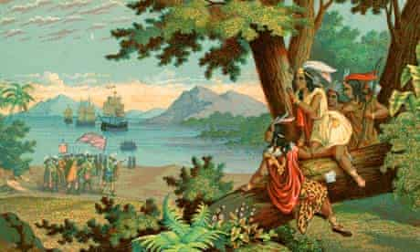 Illustration of Christopher Columbus arriving in the New World by T Sinclair