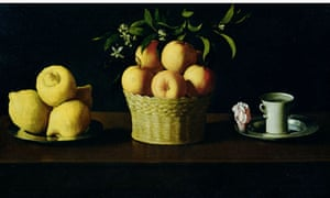 Painting of fruit and coffee cup