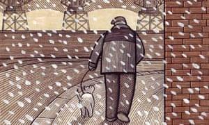 man walking a dog in a snowstorm - illustration