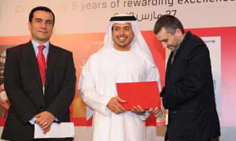 Rabee Jaber accepting his International Prize for Arabic Fiction
