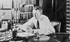Author H. L. Mencken Reading at His Desk