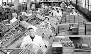 Female workers at a chocolate factory in 1954
