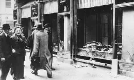 Wrecked Jewish shop front in Berlin after Kristallnacht