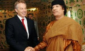 Prime Minister Tony Blair meets Libyan leader Muammar Gaddafi in 2007