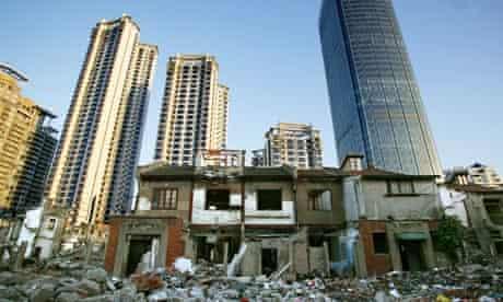 Houses among the rubble off the Changshu Road, Shanghai