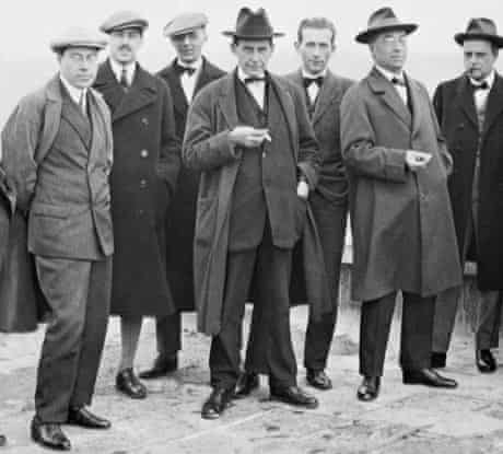 Walter Gropius poses on the roof of the Bauhaus building with other teaching staff in 1926