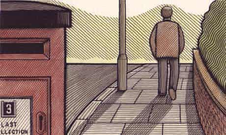Illustration of man walking into distance along pavement