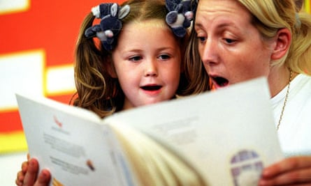 Mother and daughter reading aloud