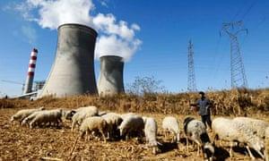 A farmer watches his sheep grazing near a power plant near Changzhi, Shanxi province