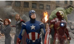 Superheroes in a scene from The Avengers