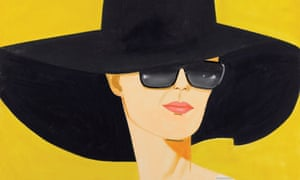Painting of woman in big black had against yellow background af18d4602f38