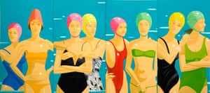 Painting of eight women in bathing suits in a line
