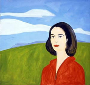 Painting of woman in red blouse against green hillside